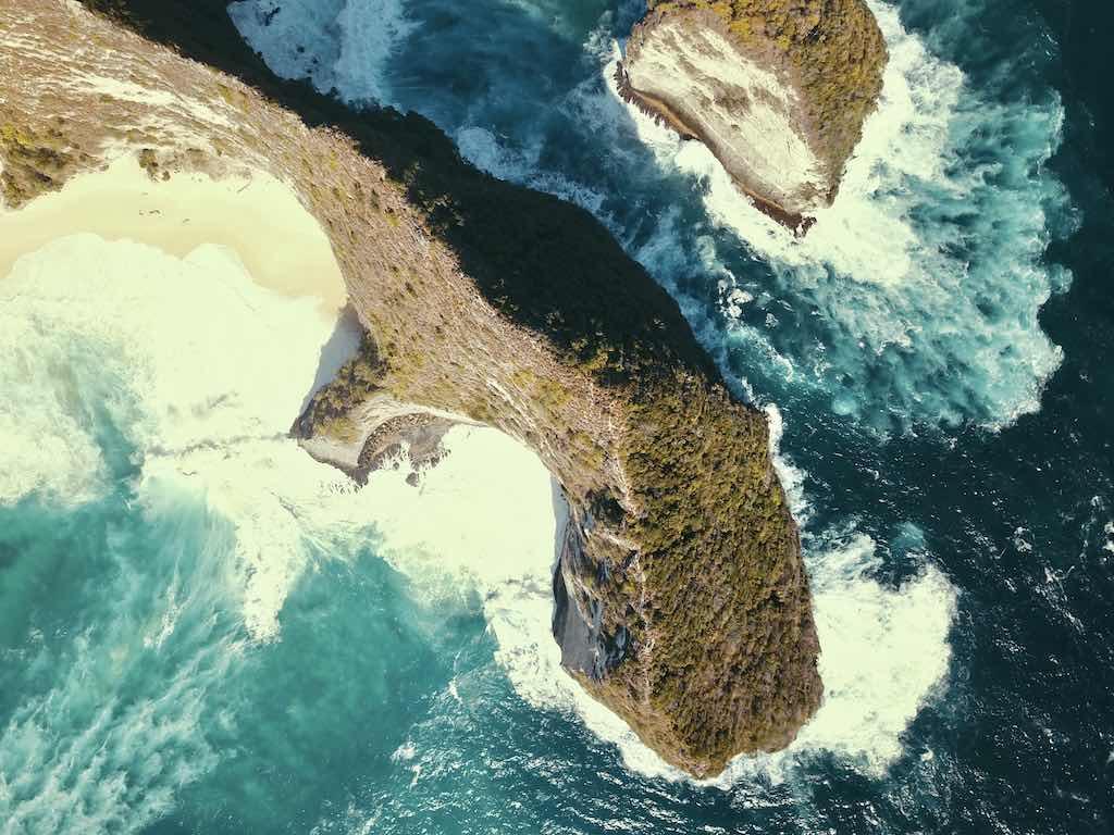 Kelingking Beach Nusa Penida Bali drone
