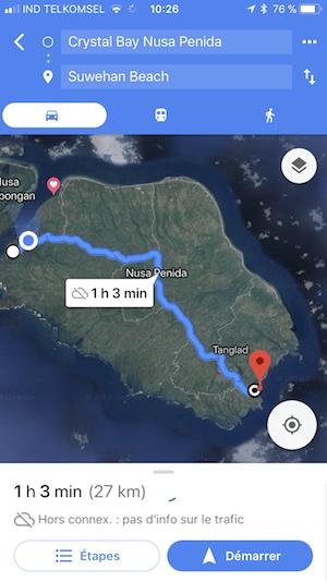 Itineraire Aller à Suwehan Nusa Penida