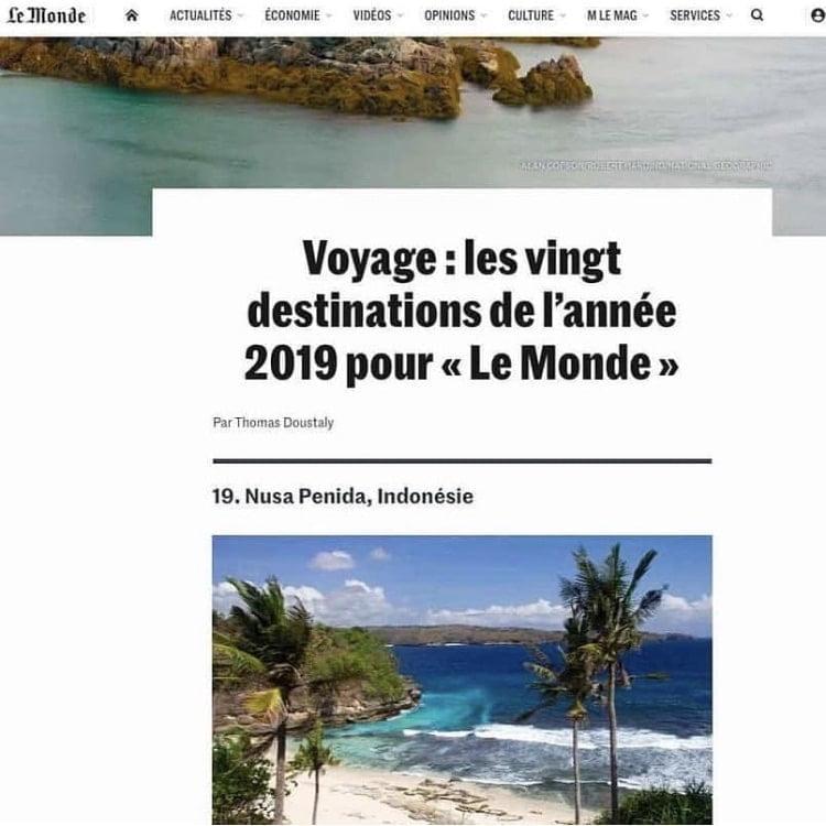 Nusa Penida Le Monde article destination Bali