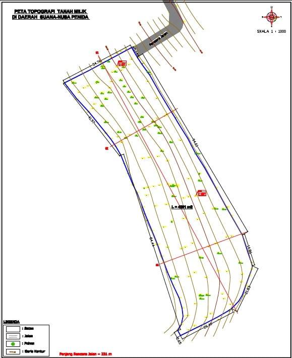 Plan topographique terrain Suana Nusa Penida