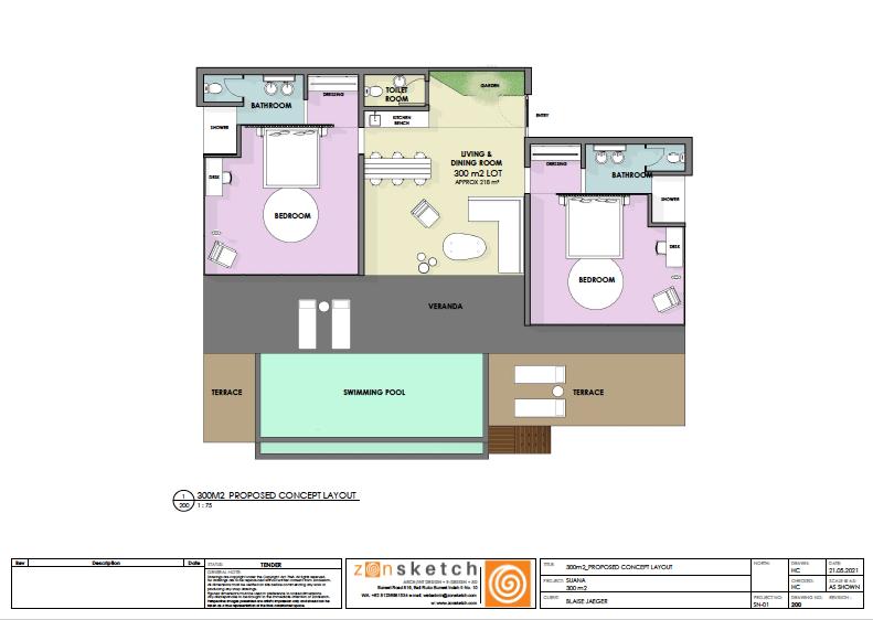 plan villa deux chambres suana nusa penida