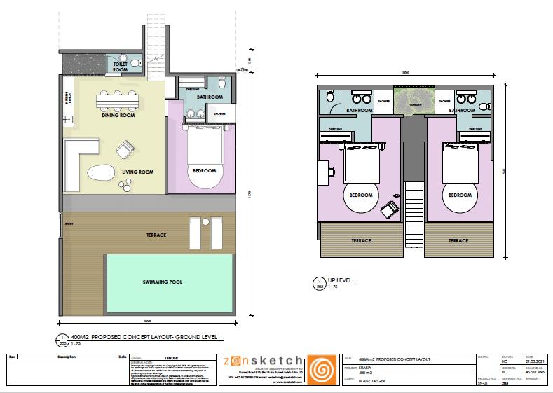 plan villa trois chambres suana nusa penida