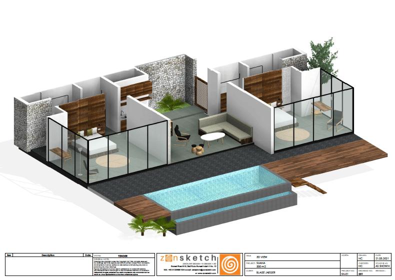 vue 3D villa deux chambres suana nusa penida